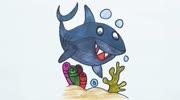儿童学画画教学:可爱的鲨鱼哥,学习画画颜色上色